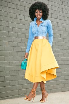 Fitted Denim Shirt + Waves Midi Skirt