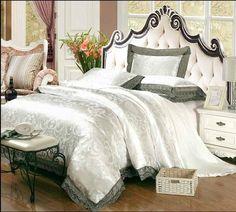 luxury jacquard bedding set king queen size 4pcs bed linen silk cotton duvet cover lace satin