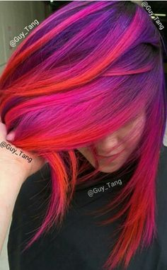 Pink red purple ombre dyed hair color @Guy_Tang