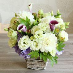 ダリアとカラー(紫)のメモリアルアレンジメント(お供え用) | 花・花束の通販|青山フラワーマーケット