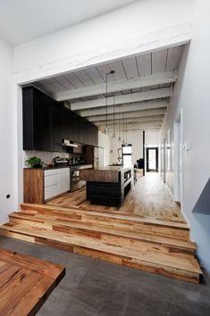 gorgeous white, black and wood kitchen... that floor!