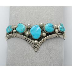 Turquoise cuff bracelet natural native american and sterling silver