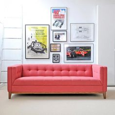 Buy Atwood Sofa from Gus Modern. The Atwood Sofa is a tailored design which features a blind-tufted seat, back, and arms, along with piping details whic. Monaco, Home Interior, Interior Design, Interior Decorating, Pink Sofa, Do It Yourself Home, Living Room Modern, Living Rooms, Modern Couch