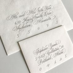 Traditional vs. Modern script ❤️ Swipe to see the difference. Which script style do you guys prefer? I usually pen traditional scripts like Copperplate/Spencerian, so it was nice (& actually challenging!) to loosen up for a more relaxed script! I'm guessing the younger brides would prefer the cleaner modern script style? Or is the traditional script coming back??   ---  Ps. Did you download my FREE envelope addressing templates yet? Link is still up on my profile!   ---  #envelopeaddressi...