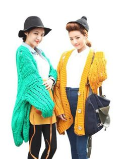 JaneSu Korean Fashion retro candy-colored loose wild hollow bat Sleeve sweater cardigan sweater