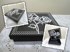 Artesanatos de Arminda Freitas: Caixa Rosa preta e branca
