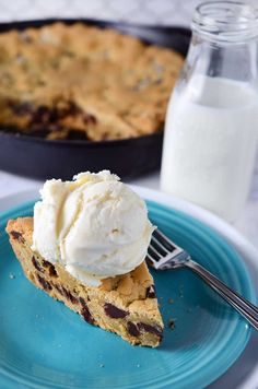 A chewy, decadent chocolate chip skillet cookie with dark chocolate chips and vanilla pudding mixed in.