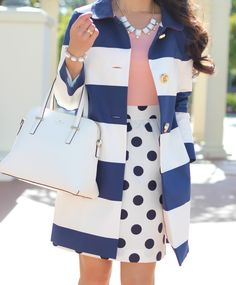 Peach top - Polka Dot skirt - Striped coat with gold button detail and Kate Spade  satchel bag - Click on the following link to see more photos and outfit details: http://www.stylishpetite.com/2014/05/peach-polka-dots-and-stripes.html