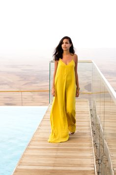 Summer Kickoff | Why Delilah?  On vacation, wearing yellow jumpsuit by Zara