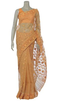 Orange and yellow striped half silk Jamdani saree with all-over exquisite golden and matching buti. Comes with unstitched matching blouse piece. Orange Saree, Yellow Saree, Drape Sarees, Silk Sarees, Traditional Looks, Traditional Dresses, Dhakai Jamdani Saree, Katan Saree, Elegant Saree