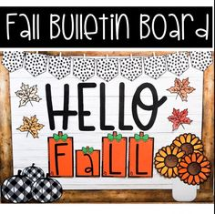 Welcome in the Fall season with this trendy bulletin board display that you and your students will love! Farmhouse plaid pumpkins, rust colored flowers/leaves, and black and white polka dots make this modern bulletin board so adorable! This bulletin board kit is so easy to set up! Perfect for your preschool, elementary, middle, high school or even your distance learning classroom! #fallclassroomdecorations #bulletinboardideas #farmhouseclassroom #distancelearningclassroom Holiday Bulletin Boards, Bulletin Board Letters, Spring Bulletin Boards, Bulletin Board Display, Back To School Teacher, Middle School, High School, Inspirational Bulletin Boards, Fall Classroom Decorations