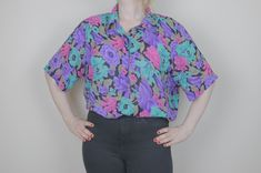 Unique, Sustainable and Affordable Vintage Clothing by KateFallsVintage Vintage Clothing, Vintage Outfits, Alfred Dunner, Short Sleeve Blouse, Vintage Ladies, Tape, Blouses, Colours, Shoulder