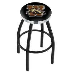 Western Michigan Broncos Flat Chrome Ring Black Bar Stool. Available in 25-inch and 30-inch seat heights. Visit SportsFansPlus.com for details.