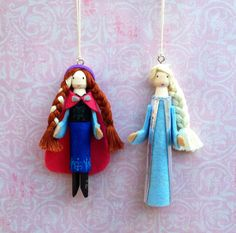 Disney Frozen Clothespin Doll Ornaments by LittleParade on Etsy, $24.00