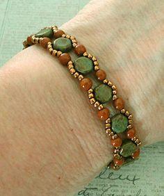 Linda's Crafty Inspirations: Honeycomb Bracelet & Earrings Set - Blue Travertine & Umber