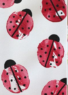 Cut half a potato and dip into red paint, and you've got a cute lady bug printing!