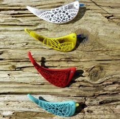 Kiln formed fused glass bird brooch