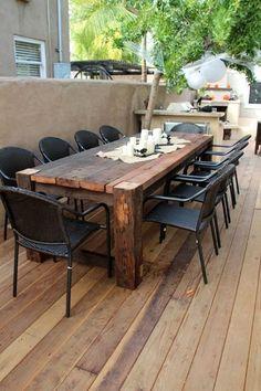 Rustic Outdoor Patio Table Design Ideas On A Budget 45 Outdoor Decor, Farmhouse Dining, Outdoor Tables, Diy Outdoor Furniture, Outdoor Patio Table, Farmhouse Patio, Farmhouse Table, Rectangular Dining Table, Diy Garden Furniture