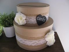 Victorian Rustic Wedding Card Box 2 tiered with Chalkboard or Wood Personalized Tag Burlap, Lace, White Ranunculus. $49.00, via Etsy.