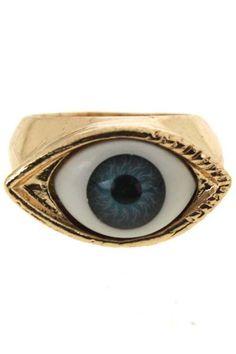 Enameled Eye Stud Ring #Romwe #Fashion #Contest #Pinterest #Girl #Streetfashion #beauty
