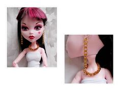 "MH Doll Cube Chain Necklace, 17"", 16 Inch Doll Choker Necklace Earrings, Cube Chain Doll Jewelry, Monster Doll High Cube Chain Earrings, by FAIRLYGHOULISH on Etsy"