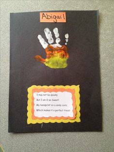 … Fall Art, Handprint Crafts, Easy Crafts, Preschool Halloween, Kids - Fall Crafts For Toddlers Halloween Crafts For Toddlers, Theme Halloween, Toddler Halloween, Fall Crafts For Kids, Halloween Crafts For Kids, Halloween Activities, Toddler Crafts, Halloween Diy, Kids Crafts