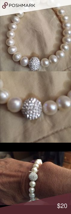 Rhinestone Pearl Bracelet Jewelry blowout- bundle for discount! Elastic pearl bracelet has one rhinestone ball for glitzy look. Bought at Macy's - not sure of brand. Like new, wore once. Jewelry Bracelets