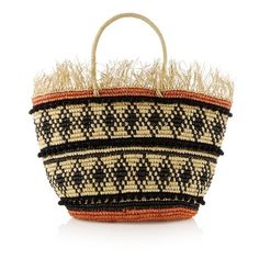 Sensi Studio Frayed straw tote (16,015 INR) ❤ liked on Polyvore featuring bags, handbags, tote bags, woven tote, striped beach tote, straw beach tote, straw handbags and tote purses