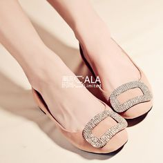 Low-cut shoes, Women's Shoes, 2013 spring and summer new elegant nude pink rhinestone square buckle flat doll shoes temperament low-heeled shoes sheepskin
