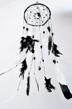 Dreamcatcher Monochrome mobile from willow wicker by CatWorkshopDream on Etsy