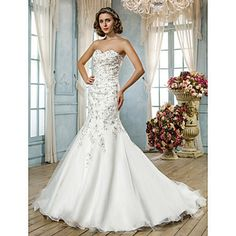 Trumpet/Mermaid+Sweetheart+Court+Train+Tulle+Wedding+Dress+(612389)+–+USD+$+299.99