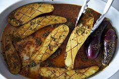 marinated eggplant (tamari, rice wine, cilantro, sesame oil, garlic, ginger)