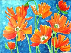 Orange Poppies -  watercolor painting