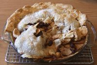 Mincemeat Apple Pie: Great tasting, just bad looking. This is what happens when I'm not paying attention when removing the pie from the oven.