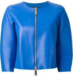 $1,805, Blue Leather Bomber Jacket: Dsquared2 Cropped Jacket. Sold by farfetch.com. Click for more info: http://lookastic.com/women/shop_items/238533/redirect