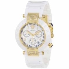 Versace Reve Chronograph White Ceramic Diamond Woman's Watch 95CCP11D497SC01