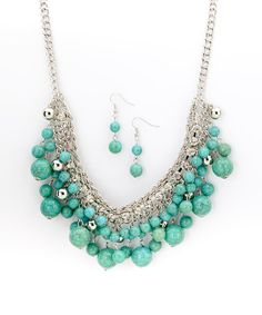 Love this Silver & Turquoise Bib Necklace & Drop Earrings on #zulily! #zulilyfinds