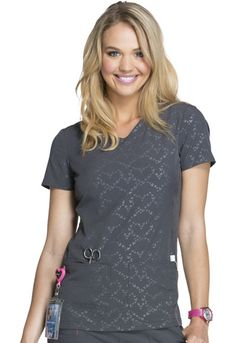 Break On Through  Beat of My Heart  V-Neck Top in Beat Of My Heart Pewter