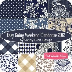 Easygoing Weekend Clubhouse 2012 Fat Quarter Bundle Swirly Girls Design for Michael Miller Fabrics