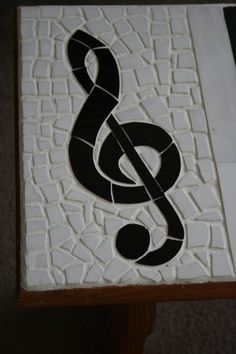 Stained glass mosaic piano key and treble clef by mosaicworks42
