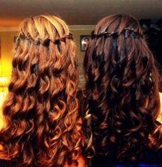 Waterfall braid on curly hair by gloriaU