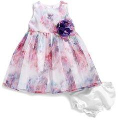 Pippa & Julie Watercolor Floral Print Mesh Dress (Baby Girls)