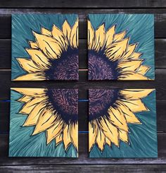 Sunflower Painting on 4 12x12 Canvas Squares by EtsyByVeasey