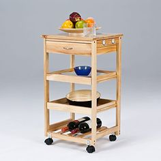 Portable Wood Serving Kitchen Trolley Dining Cart Storage Slim ... | {Küchenwagen holz 36}