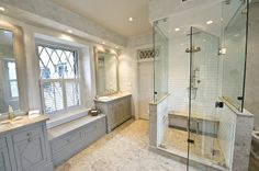 As beautiful as this is ~ and it is beautiful ~ I could not have one of those clear, glass shower stalls. Too exposed.