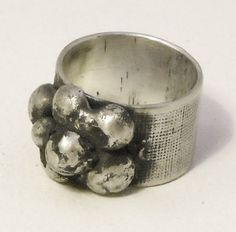 anillo plata texturizada