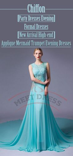 Chiffon Prom Dresses Evening Formal Dresses New Arrival Party Dresses High-end Applique Mermaid Trumpet Evening Dresses