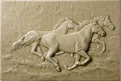 Running Horses tile - on splash board above/behind sink, or behind stove top