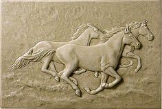 Running Horses tile - on splash board above/behind sink, or behind stove top Horse Sculpture, Wall Sculptures, Wood Carving Art, Wood Art, Anatomy Sculpture, 3d Art Drawing, Plaster Art, Bright Art, Mural Wall Art