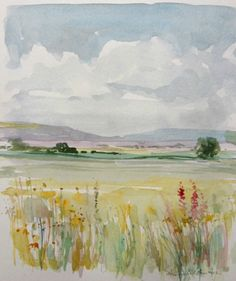 Original Watercolour Painting - Long Summer Grass - Signed Annabel Burton